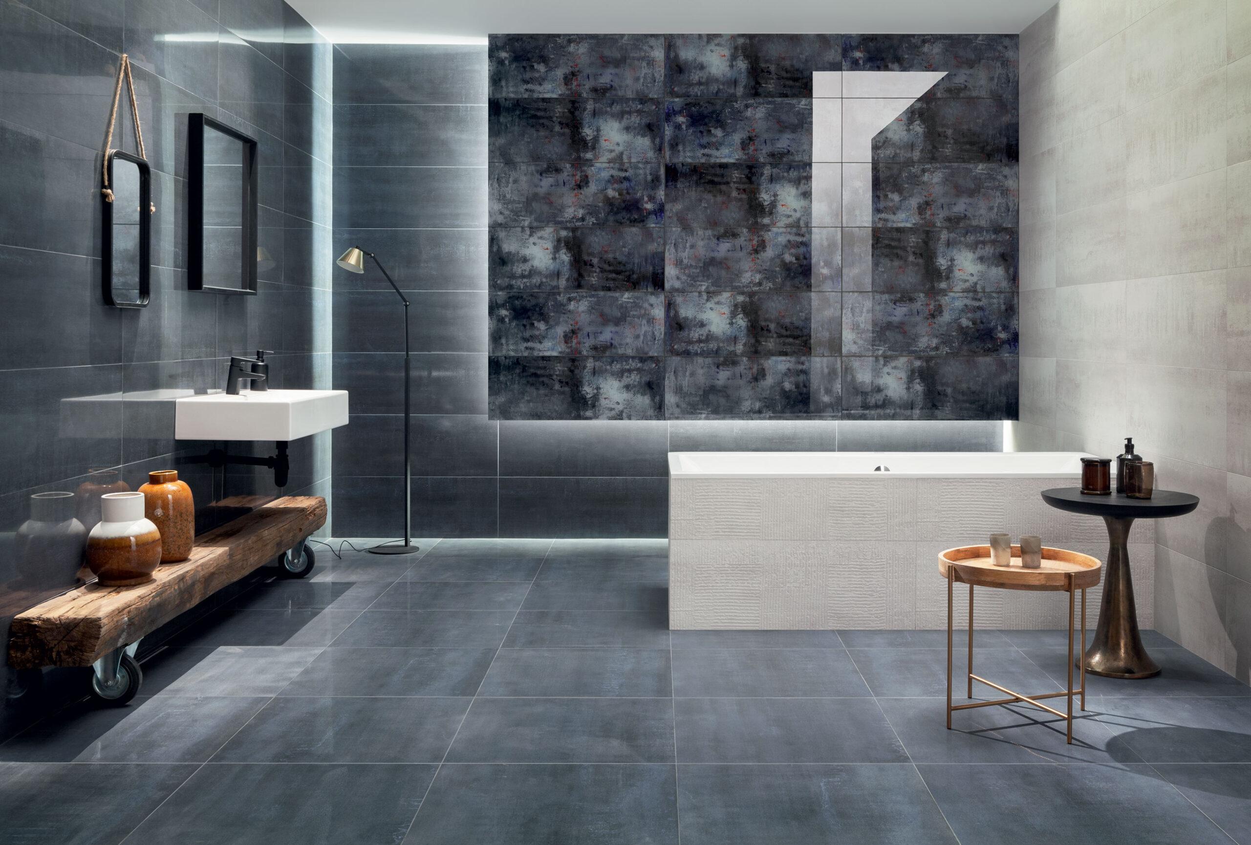 Czarna łazienka z jasnymi dodatkami w stylu art déco
